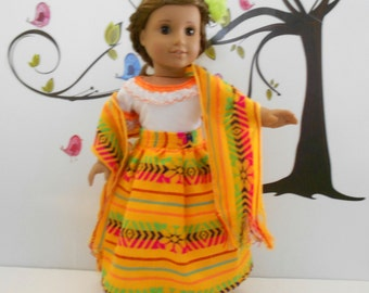 """Mexican folklorico yellow skirt blouse ensemble with rebozo for 18"""" doll like American Girl"""