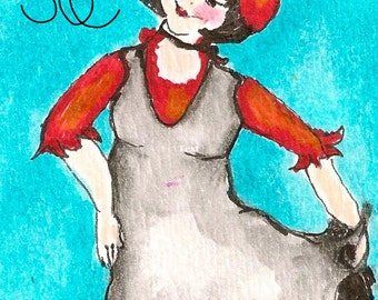 Dancing Girl-Original Art by SQ Streater-ACEO Watercolor