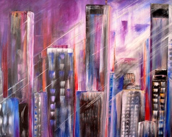 "Colorful City-Original Acrylic Painting on Canvas by SQ Streater-24""x30"""