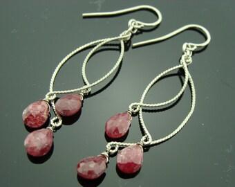 Long Ruby Chandeliers Sterling Silver Earrings
