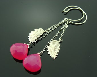 Long Hot Pink Chalcedony Sterling Silver Leaf Earrings