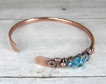 Copper Wire Wrapped Bracelet with Blue Glass, Antiqued Copper and Blue Glass Bangle, Size 7