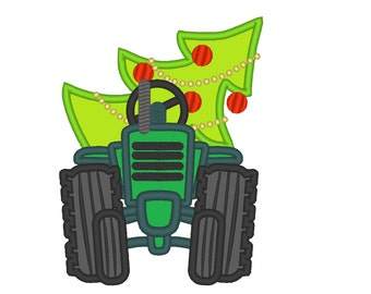 Christmas tractor front - machine embroidery design - multiple sizes, for hoops 4x4, 5x7 and 6x10  INSTANT DOWNLOAD
