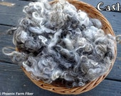 "2 oz Washed Mohair Locks, Tricolor, ""Cash,"" Black, Gray, White, Natural Colored Angora Goat, Curly Locks, Doll Hair, Spinning, Blending"