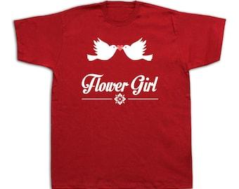 Flower girl wedding T shirt fashion stylish birds kiss love together gift prom #Flower girl