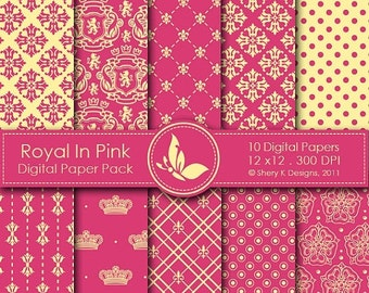 50% off Royal In Pink Paper Pack - 10 Digital papers - 12 x12 - 300 DPI