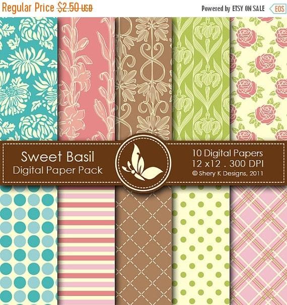 50% off Sweet Basil Paper Pack - 10 Digital papers - 12 x12 - 300 DPI