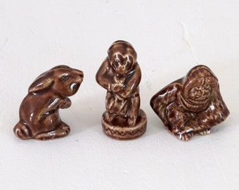 Vintage French FEVES porcelain glazed . 3 Chocolate French miniature figurines.Food Porcelain Figurines  Feves .Miniature Food.