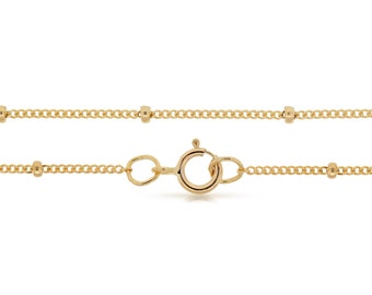Finished Chains with spring ring clasp 14Kt Gold Filled 16 Inch 1mm Satellite chain with 2mm Bead  - 1pc (2823)/1