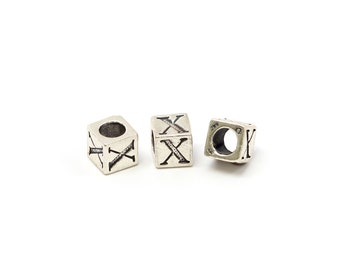Alphabet Beads Sterling Silver 6mm Alphabet Blocks X - 1pc (3217)/1