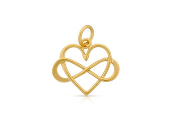 24K Gold Plated Sterling Silver 18x16mm Infinity Heart - 1pc 10% discounted High Quality charms (6075)/1