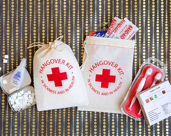 Bachelorette Party Favors - Bachelorette Hangover Kit Bags - Hangover Kit Party Favors - In Sickness and In Health Party Favors