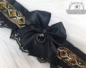Black And Gold Gothic Kitten Play Collar, Kitten Play Collar, Pet Play Collar, Choker, Adult Kitten Play Collar, BDSM Collar
