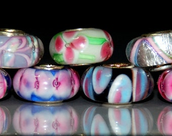 Destash 7 pcs Pink and Miscellaneous Color and Sizes European Big Hole Glass Beads