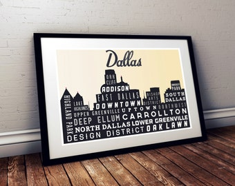 Typography Art, Dallas Skyline, Poster Print, Modern Art, Wall Decor, Retro Poster, Rustic Decor, Holiday Gift 18 x 24