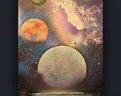 Celestial Connection ~  Original Abstract Painting- Planet - Space - Galaxy - Angels