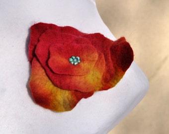 Felt flower, brooch, flower,  beads, yellow, orange, red, yellow