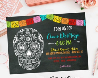 cinco de mayo invitations fiesta couples shower Papel Picado chalkboard sugar skull rehearsal dinner engagement party item 366