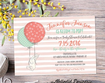 Ready to pop gender neutral baby shower invitations baby sprinkle gender reveal twin bunny balloon stripe (item 1458) shabby chic invitation