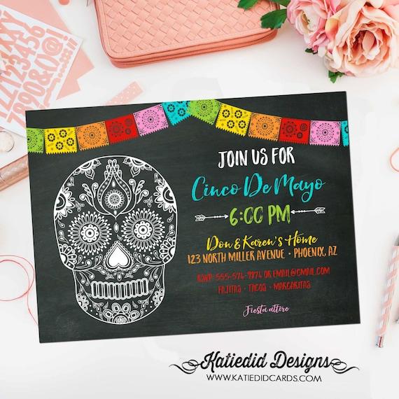 Papel Picado invitation Halloween Sugar Skull Fiesta Bridal Shower day of the dead cinco de mayo dia de los Muertos 366 Katiedid Designs