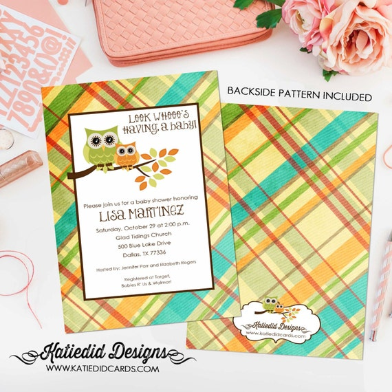 owl baby shower invitation gender neutral gender reveal plaid couples shower bring a book bash (item 1216) shabby chic baby shower invites