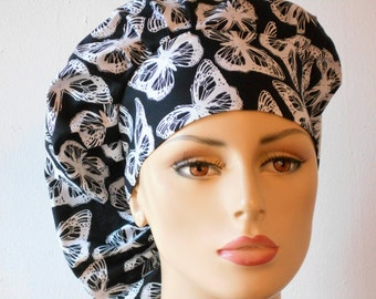 Scrub Hats Bouffant Surgical Scrub Hat - Black with White Butterflies Medical Scrub Hat with a Matching Headband