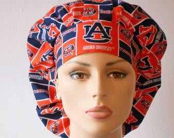 Scrub Hats Bouffant- Auburn University Tigers Blocks NCAA