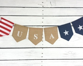 Patriotic bunting, memorial day bunting, 4th of July bunting, USA bunting, flag bunting, American flag bunting, stars and stripes bunting