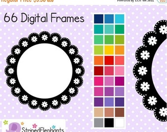50% OFF SALE Lace Flower Circle Digital Frames - Instant Download - Commercial Use