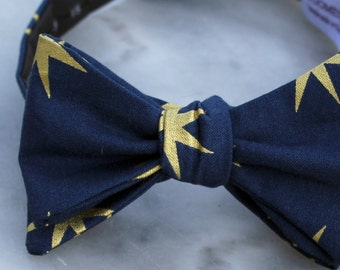 Men or Boys Navy and Gold Star Bow Tie- Groomsmen and wedding tie - clip on, pre-tied with strap or self tying