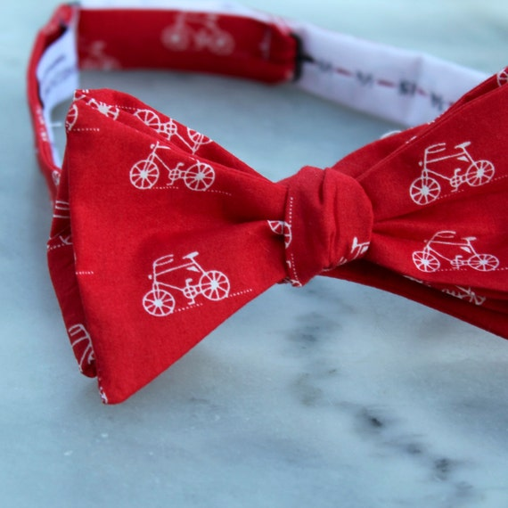 Red and White Bicycle Bow Tie - clip on, pre-tied with adjustable strap or self tying