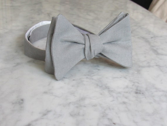 Bow Tie in stone gray linen- clip on, pre-tied adjustable strap, or self tying - wedding party, ring bearer outfit, groomsmen gift