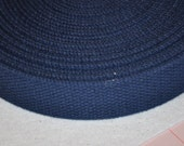 "Dark  Blue 1 and  1/4"" Cotton Webbing for belts, key chains, dog collars and more Sold by the Yard~~~Ready to Ship"