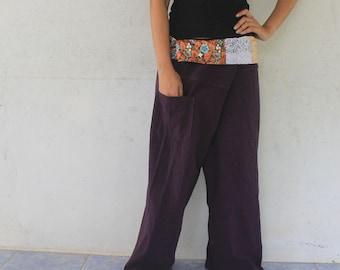 patchwork on waist and burgandy long Thai fisherman pants hand weave cotton,size S-XL,unisex pants,yoga,spa pants.