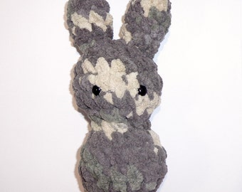 Bunny Floof - Super Soft & Cuddly Crochet Plushie Stuffed Toy Animal - 7.5 inch Plush Rabbit Baby Childrens Toy in Grey Tan Multicolor