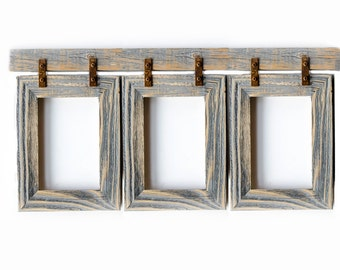 Barnwood Collage Frame. 3) 4x6 Multi Opening Frame. Rustic Picture Frame. Collage Frame. Gray Picture Frame. Wood Picture Frame. Shabby Chic
