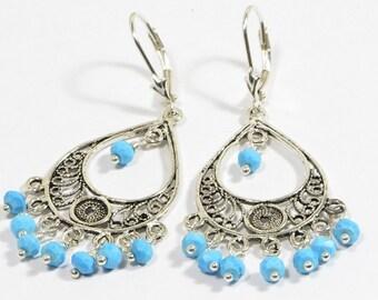 Sleeping Beauty Turquoise Earrings Filigree Handmade Earrings Sterling Silver Jewelry Gemstone Earrings