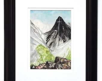 Orig Watercolor- Mountain of the Holy Cross 1870 inspired