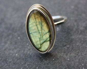 Labradorite Sterling Silver Ring Sz 8.5