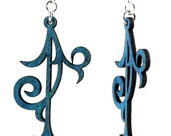 Scroll Ornament - Wood Earrings