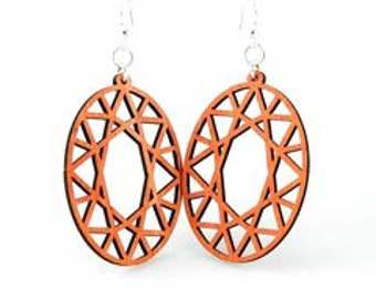 Oval Hex - Great Design - Very light weight wood earrings