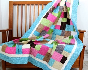 Patchwork Quilt  Contemporary Lap Throw in Aqua, Pink, Lime Green, Brown Modern Dorm Quilt Quilted Wheel Chair Blanket  WallHanging Fiberart