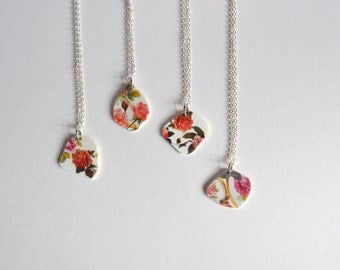 broken china roses romantic pink pendant necklace - cottage style jewelry - gift for her - valentine roses necklace - broken china pendant