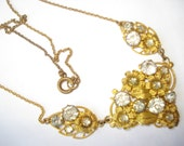 Art Deco Necklace Czech Clear Glass and Filigree 1920's 1930's