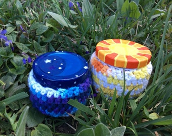 SALE! Two Medicine Recycled Glass Stash Jar set, Hand Wrapped, Hand Painted, medium, hippie, crochet, boho,OOAK