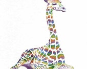 Giraffe Art Print, Nursery Wall Art, Rainbow Giraffe Painting, Giraffe Watercolor, Kids Room Decor, Nursery Art Print, Animal Wall Art Gift
