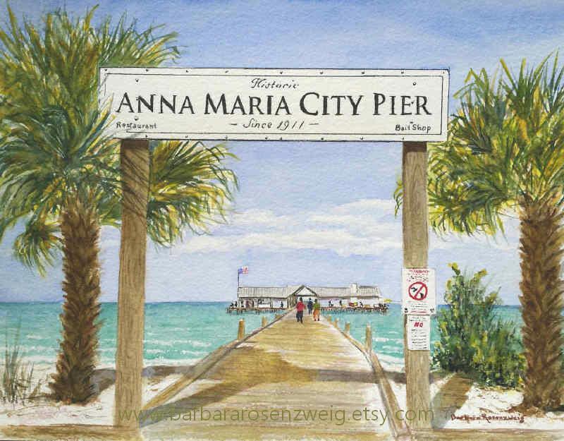 Fishing pier print beach painting beach decor coastal for Anna maria island fishing pier