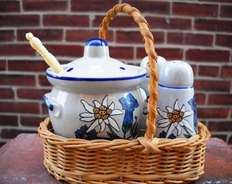 Condiment Set - jam, salt, pepper mid-century blue and white daisy