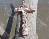 Shell Wall Cross in Deep Coral
