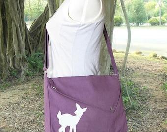 Holiday On Sale 10% off purple cotton canvas messenger bag / shoulder bag / deer messenger /diaper bag / fawn sewn